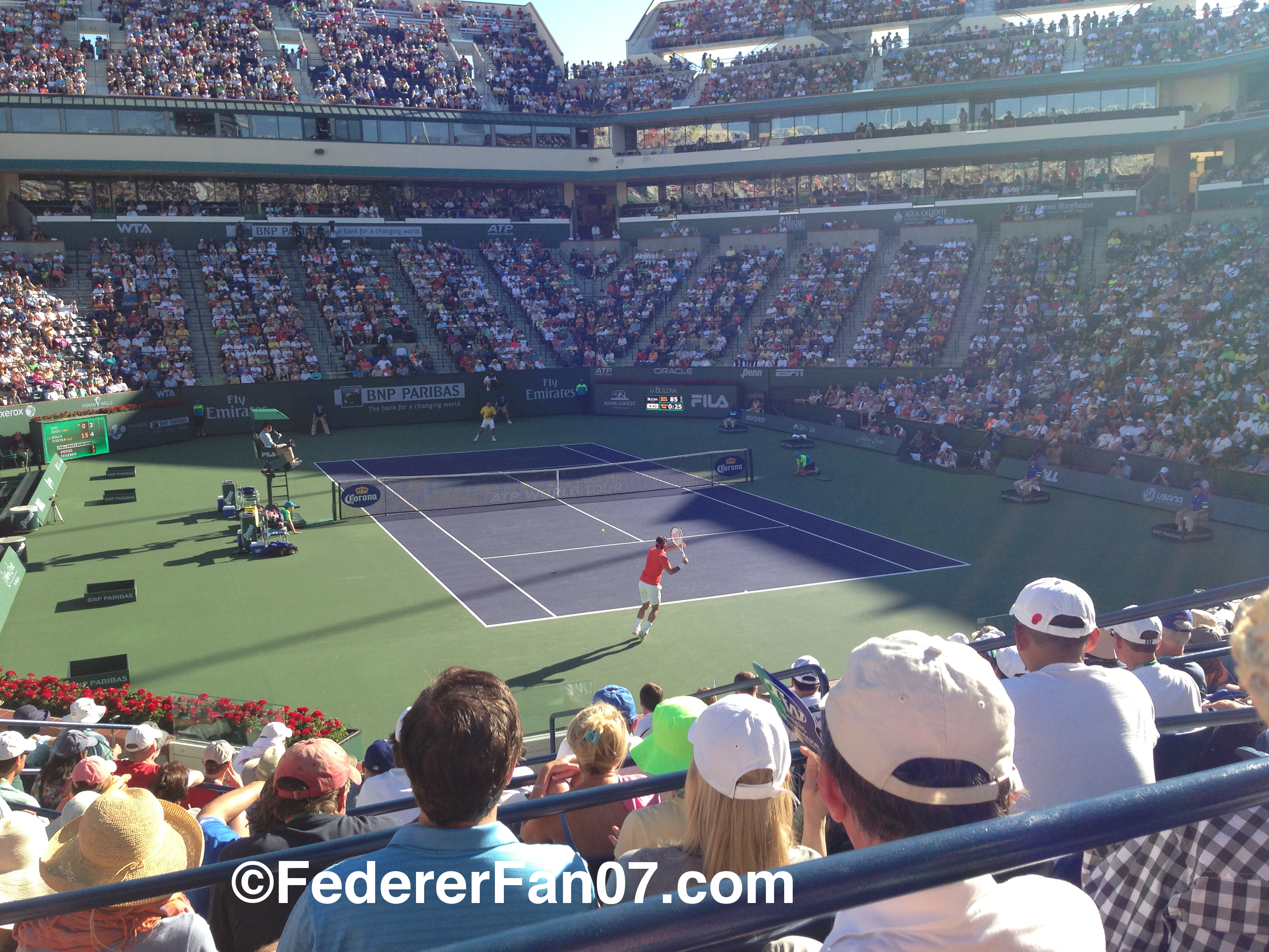 Roger Federer at 2013 BNP Paribas Open in Indian Wells. All photos and video taken by FedererFan07. Go to https://federerfan07.com for more.