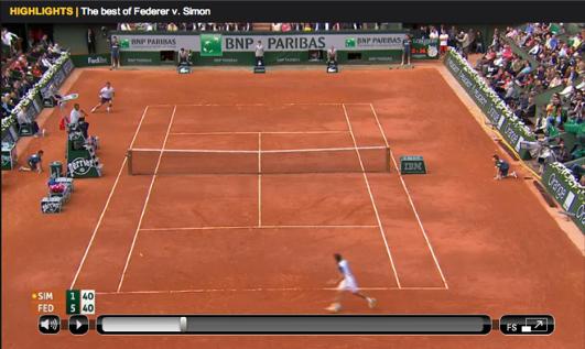 Federer Simon Roland Garros 2013 highlights