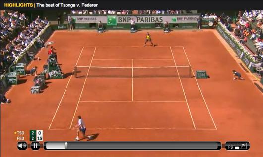 Federer Tsonga Roland Garros 2013 highlights
