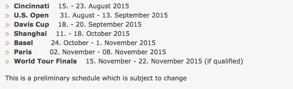 Federer Second Half 2015 Schedule