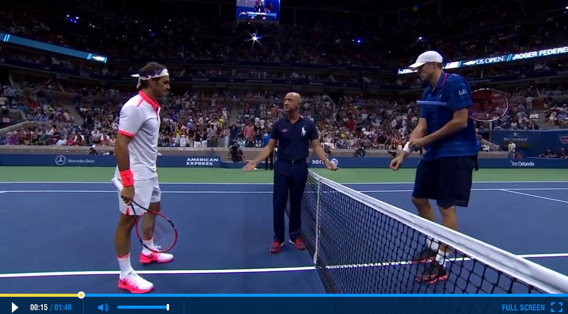 Federer 2015 US Open Fourth Round Highlights
