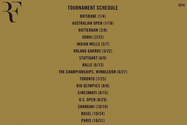 Roger Federer 2016 Schedule