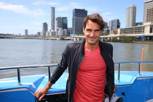 Roger Federer arrives in Brisbane, Australia