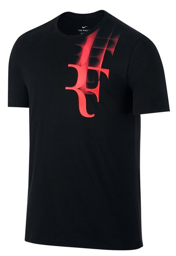 Roger Federer 2017 US Open Nike Outfit - NikeCourt RF US Open Shirt Black