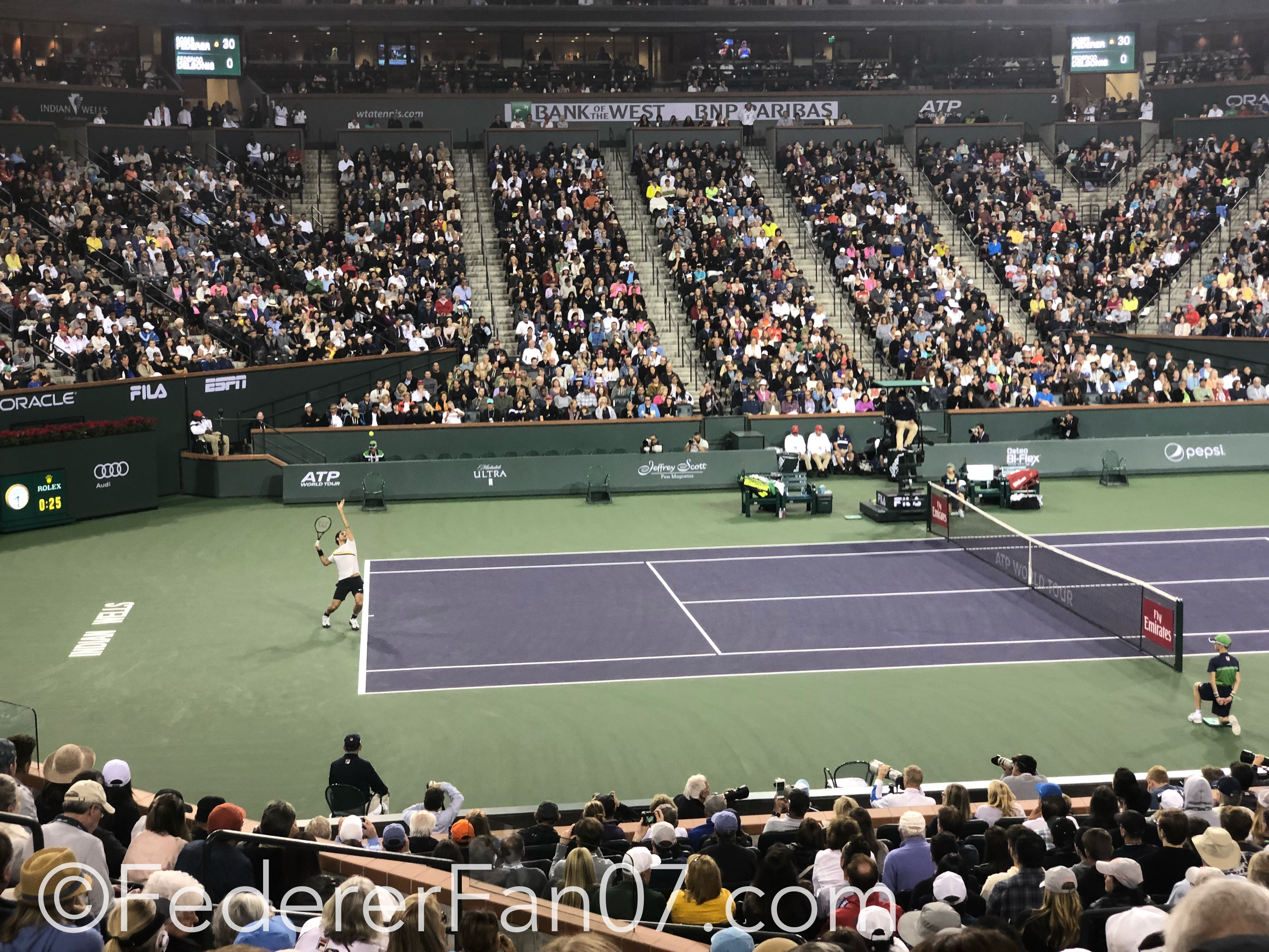 Roger Federer 2018 BNP Paribas Open (Indian Wells BNPPO18) - Federer Wins Rare Rain Delay in Indian Wells