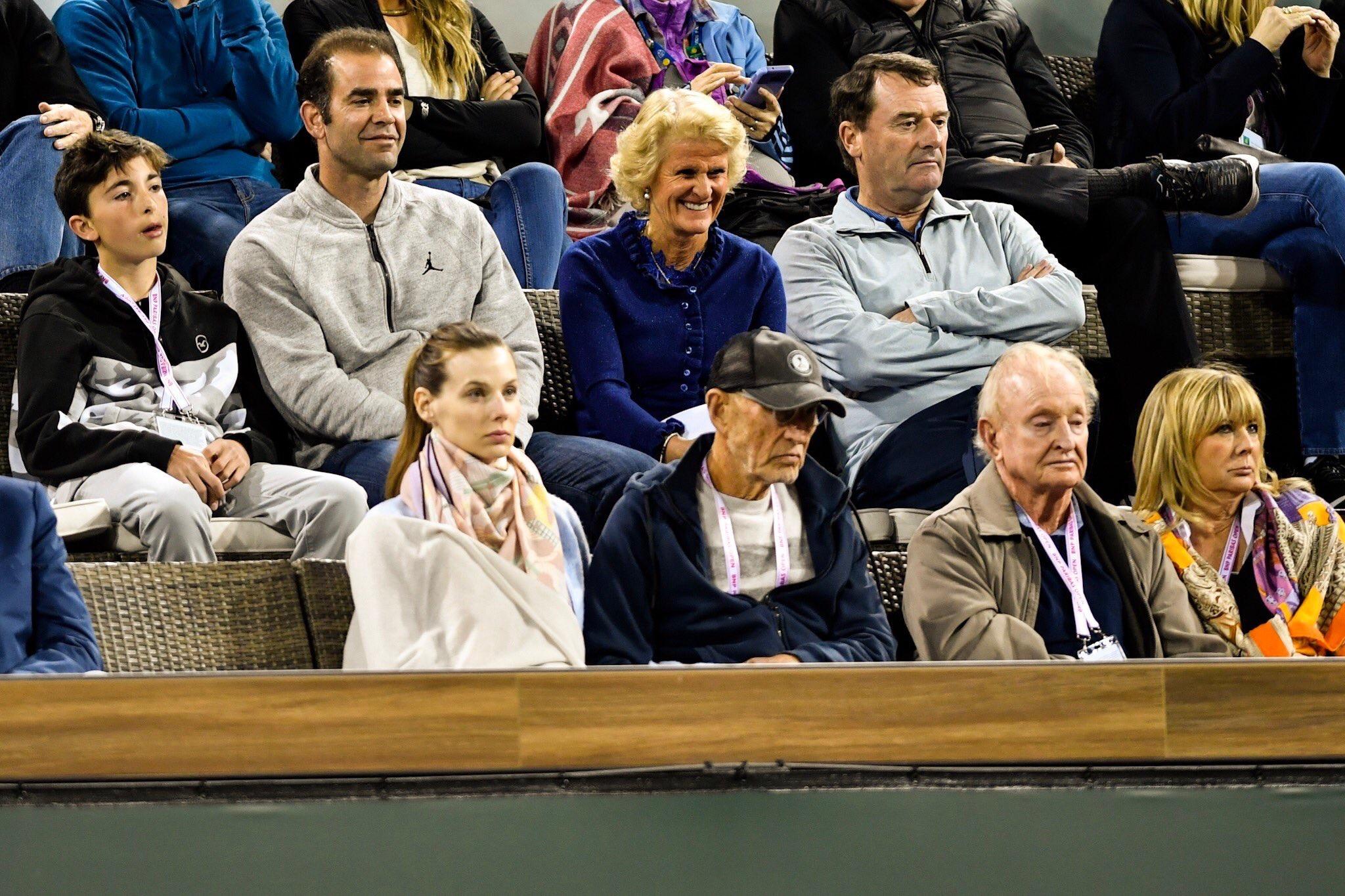 Pete Sampras and Rod Laver attend 2018 BNP Paribas Open Federer-Chung Quarterfinal in Indian Wells - Federer Defeats Chung to Reach BNP Paribas Open Semifinals
